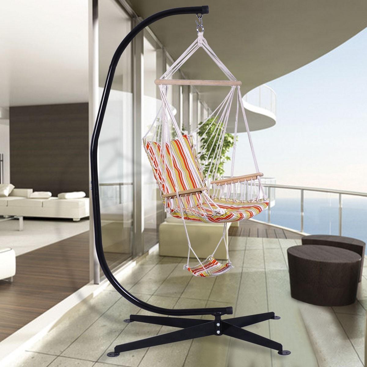 Costway Supporto per amaca a sedia Telaio in acciaio per amaca a forma C carico 150kg