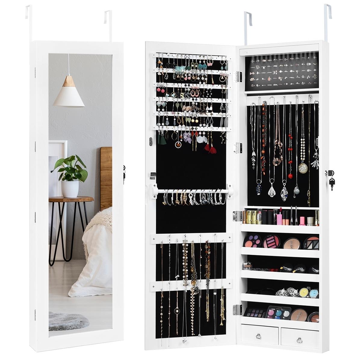 Ganci Per Appendere Collane costway armadio portagioielli a led con chiusura alla porta, organizer  gioielli con specchio a figura intera, 37x9x120cm bianco
