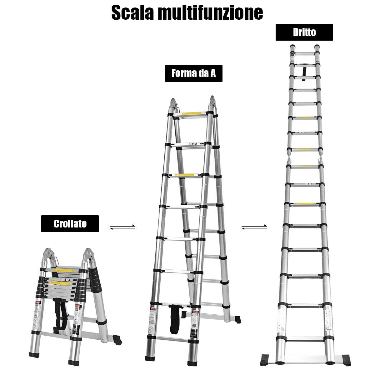 Scala telescopica pieghevole Wangkangyi portata massima 150 kg ripiani a scala scala a gradini da 5 m altezza pieghevole 2,5 metri scala estensibile