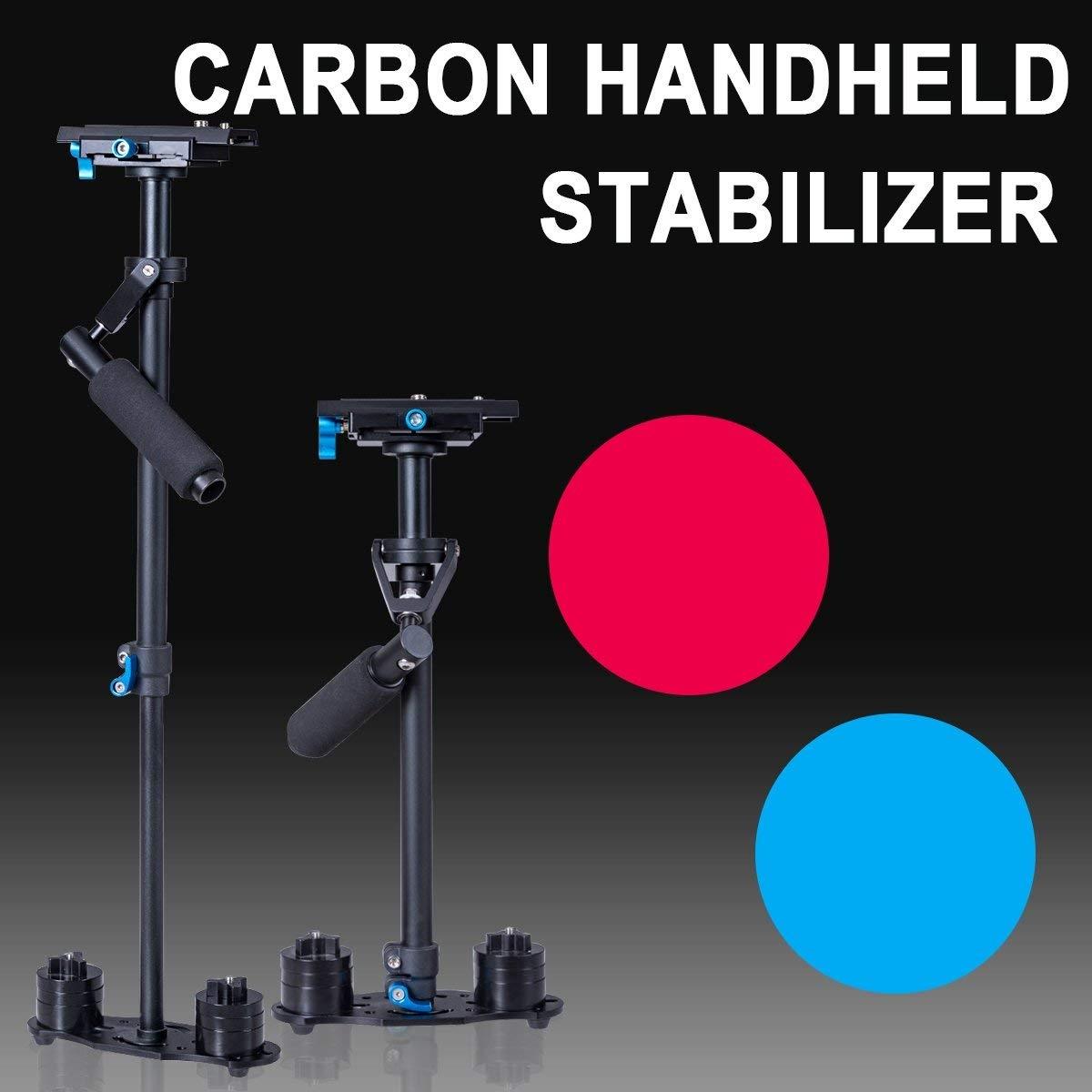 Costway Stabilizzatore di mano per fotocamera lunghezza 38-60cm Supporto per videocamere DV in fibra di carbonio Nero