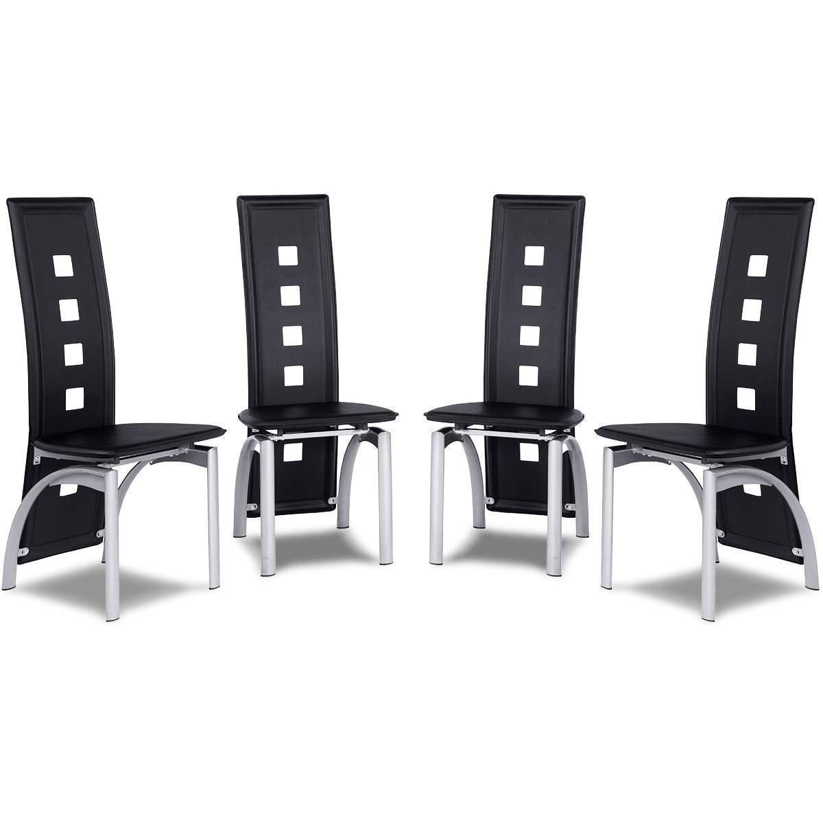 Costway Set di 4 sedie da pranzo con schienale Sedia in PVC e metallo per cucina 45x54x106cm Nero