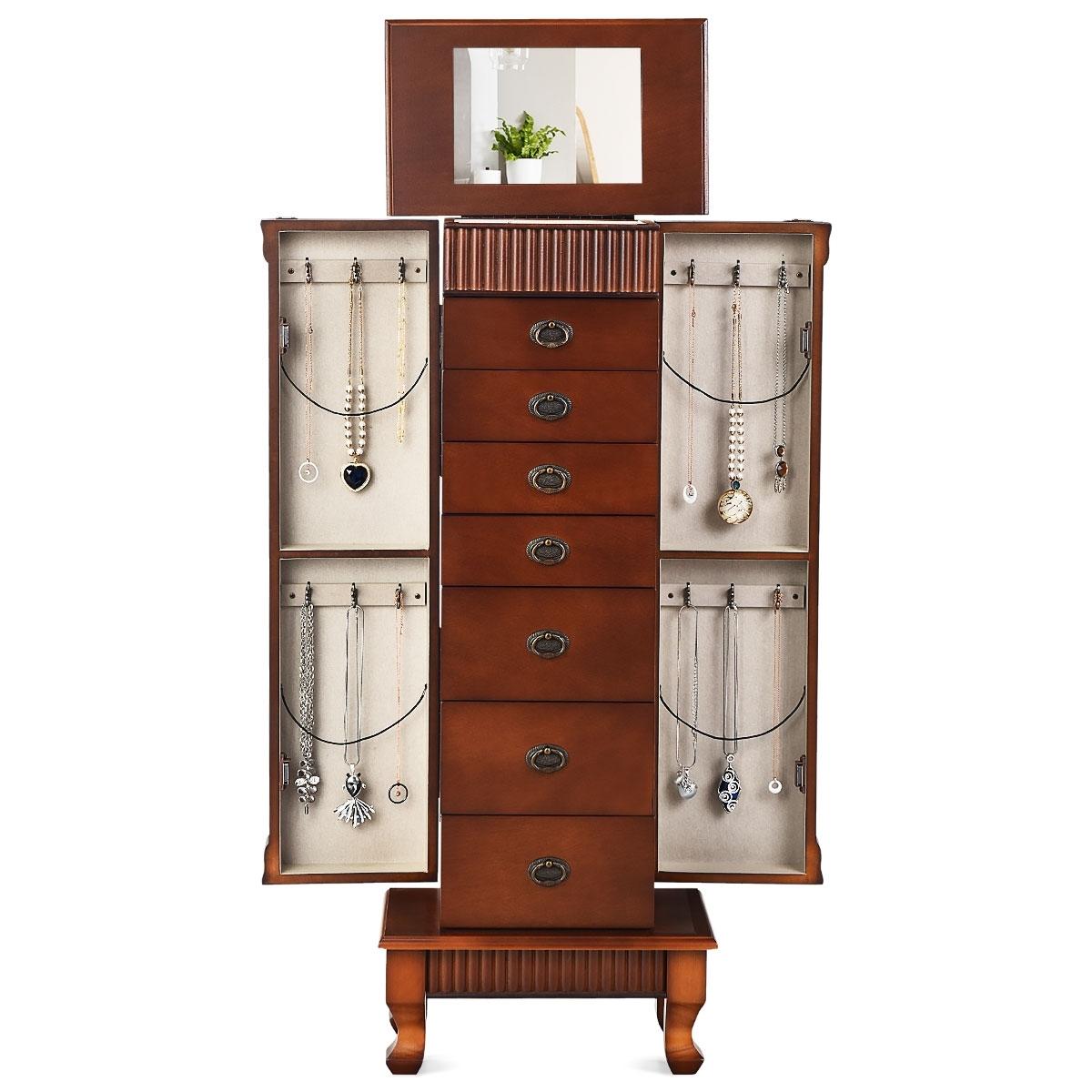 Ganci Per Appendere Collane costway grande armadio portagioielli con 7 cassetti, 12 ganci per collane,  ante laterali, scatola per gioielli con specchio girevole