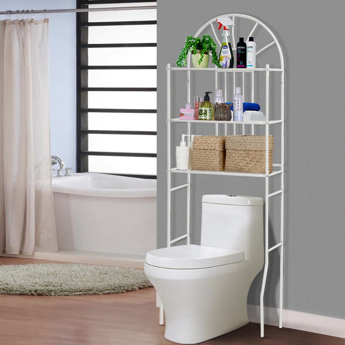 Costway Scaffale a 3 ripiani in metallo sopra il WC Mobiletto mensole da bagno 173x33x59cm Bianco