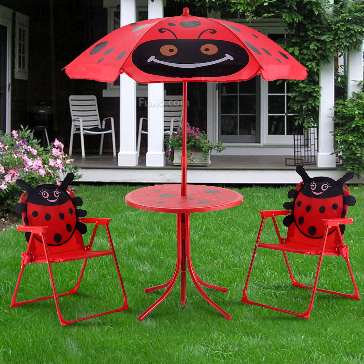 Costway Set tavolo con ombrellone e 2 sedie per bambini da giardino pieghevole Rosso