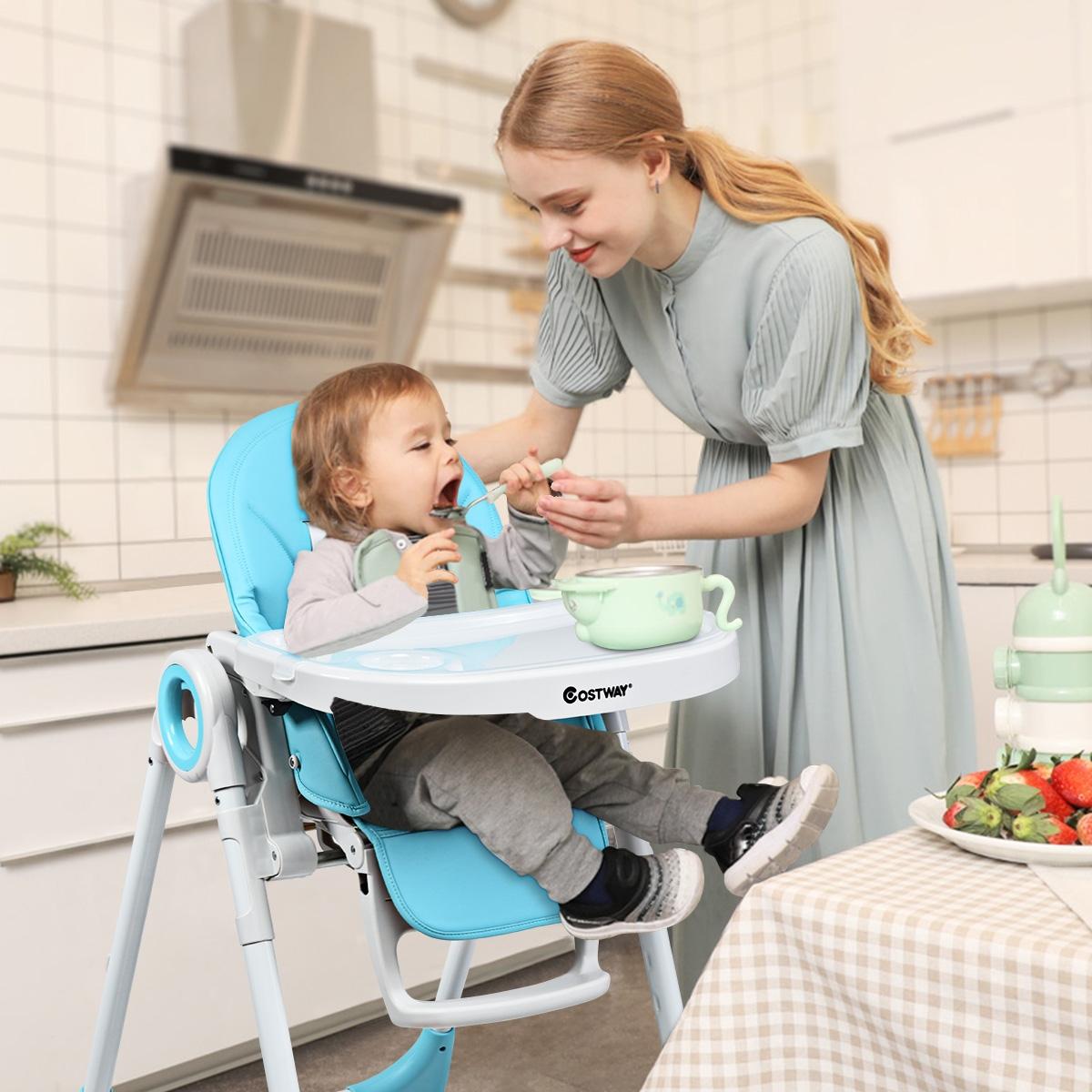 Costway Seggiolone regolabile per bambino con vassoio Altalena neonato multiuso 100x72x56cm Blu