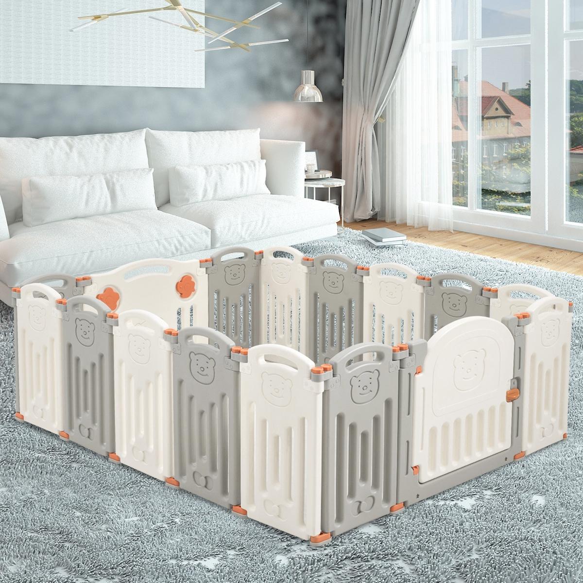 Costway Box con 16 pannelli per bambini Centro attività sicuro e pieghevole con orso Beige