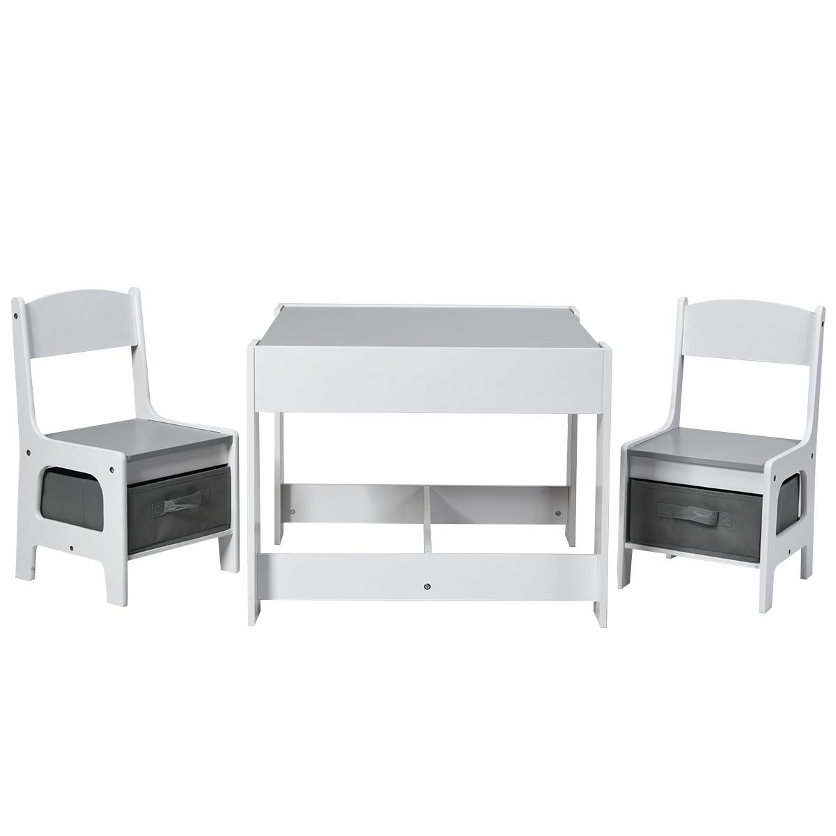 Costway Tavolo attività 3 in 1 in legno per bambini Set tavolo e sedie con cassetti e lavagna staccabile, 60x60x48cm Grigio