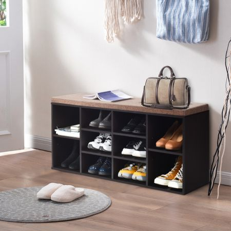 Costway Scarpiera con cuscini imbottiti con ripiani regolabili, Ingresso Scarpiera con sedili imbottiti da 10 cubi, Marrone