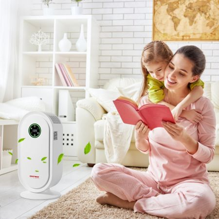 Costway Purificatore d'aria con filtro HEPA e timer per il sonno, operazione silenziosa per casa e ufficio, Bianco
