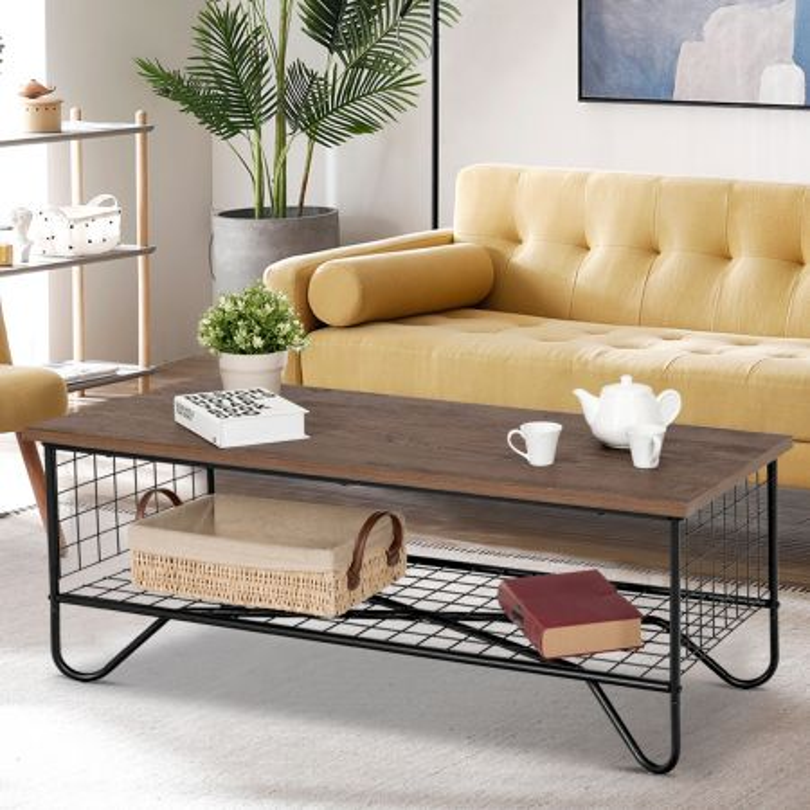 Costway Tavolino da caffè con 2 piani da salotto Tavolo in legno e ferro rete da balcone 105x50x42cm