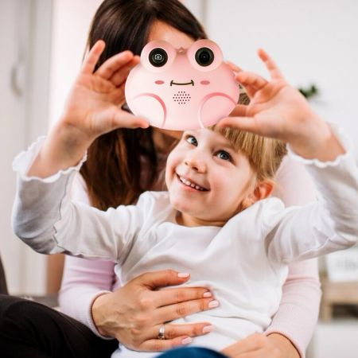 Costway Mini fotocamera digitale per bambini con schermo HD e scheda di memoria da 16GB Rosa