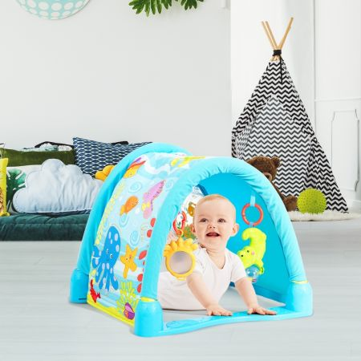 Costway Palestrina con tappeto da gioco per neonato multifunzione, Tappetino strisciante con tema mare per bambini