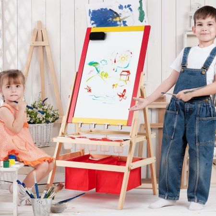 Costway Cavalletto per bambini 3 in 1 in legno con accessori completi, 39x59cm Lavagna e lavagna bianca double face