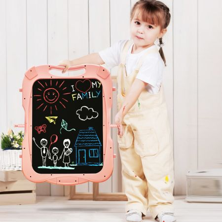 Costway Lavagna magnetica double face per bambini, Lavagna con altezza regolabile e accessori, Rosa