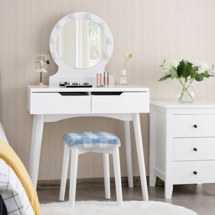Costway Toeletta con specchio illuminato con 2 cassetti e sgabello, Mobile toeletta con luminosità regolabile Bianco