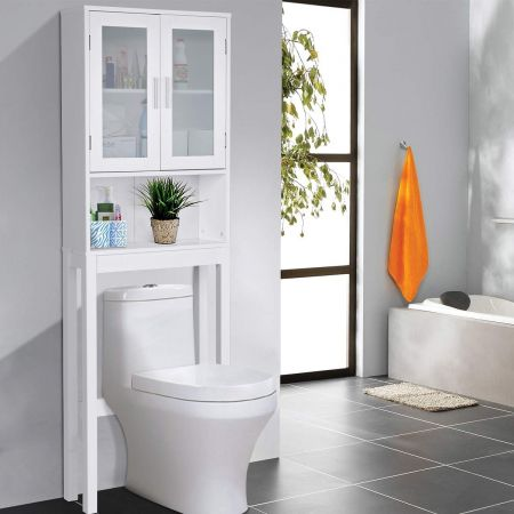 Costway Scaffale sopra il WC con 3 scomparti Scaffale per bagno in MDF Lavanderia salvaspazio 170x57,5x19cm Bianco
