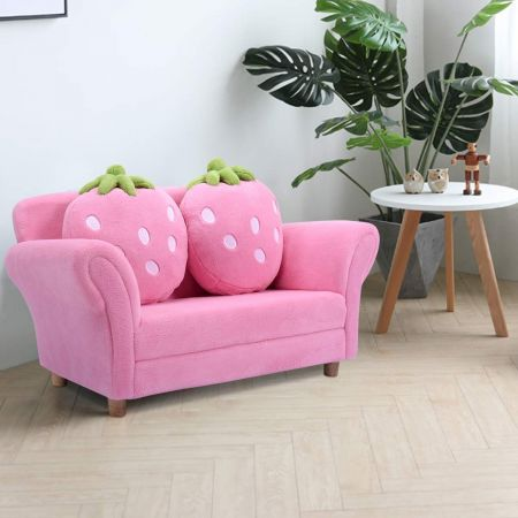 Costway Divano per bambini con cuscini Poltrona per bimbi morbido a forma di fragola 90x55x48cm Rosa