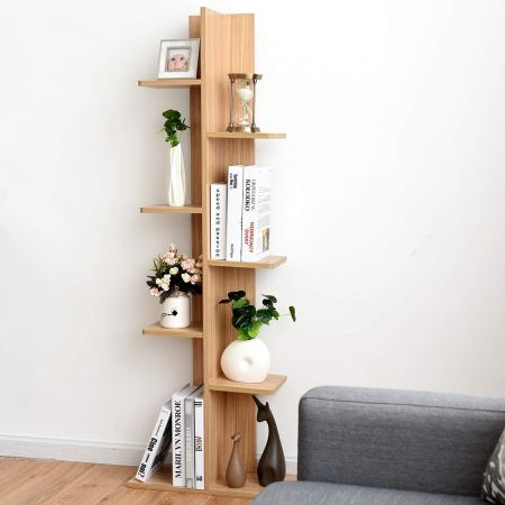 Costway Scaffale in legno per piante Mensola portaoggetti fioriera a scala 50,5x20x141cm Noce chiaro