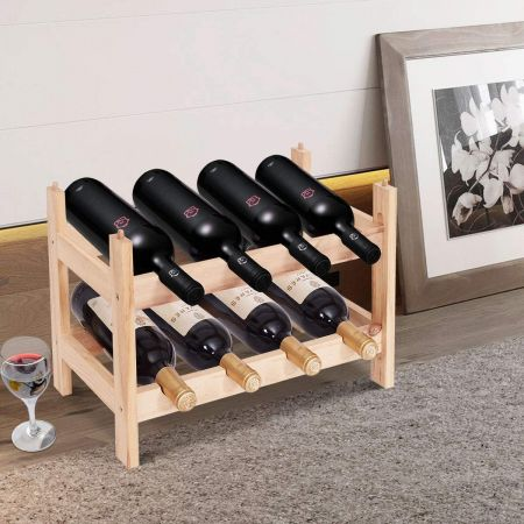 Costway Scaffale portabottiglie impilabile in legno massello per 8 bottiglie Porta vino a tavolo 2 ripiani 43x31x25cm
