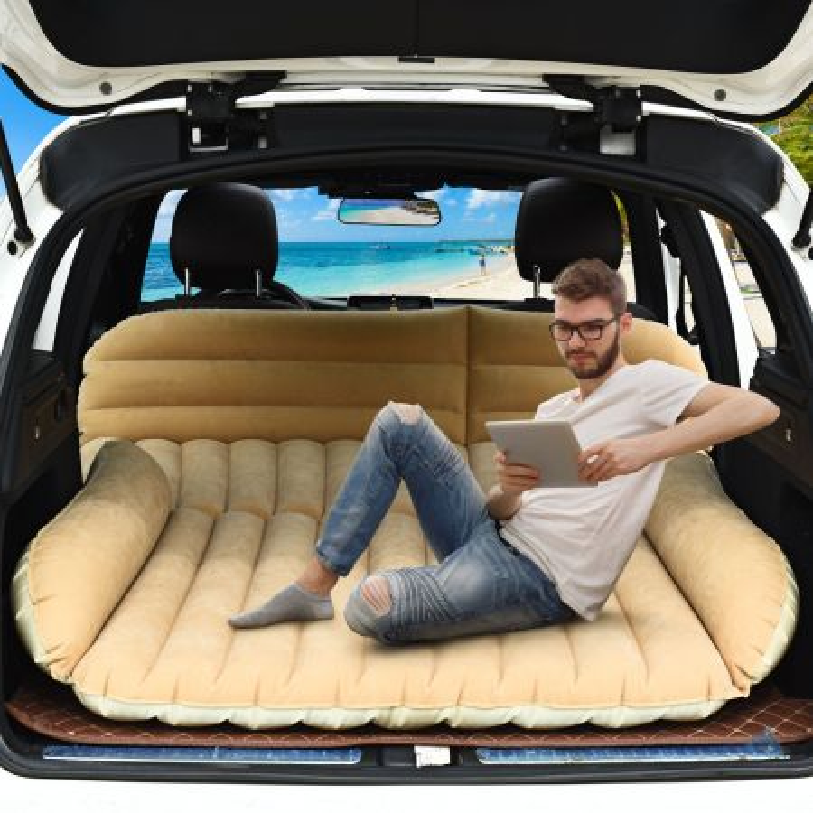 Costway Materasso ad aria per auto, Lettino gonfiabile con superficie floccata e compressore elettrico, Cammello