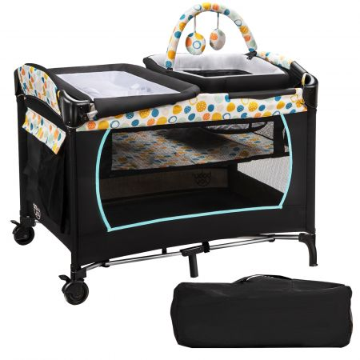 Costway Box 4 in 1 portatile con culla per bambini, Lettino centro attività fasciatoio con ruote e freni, Blu
