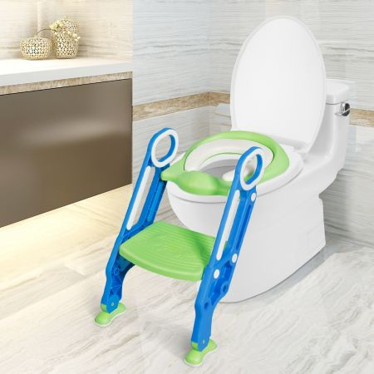 Costway Scaletta per WC per bambini regolabile con gradini ampi antiscivolo, Sgabello pieghevole con scala e maniglie blu e verde