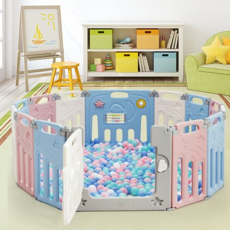 Costway Recinto per bambini con 14 pannelli pieghevoli porta richiudibile, Box per bambini da interno 160x118x65cm