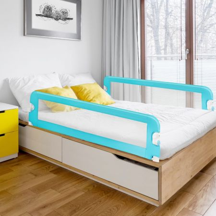 Costway Sponda per il letto 150 cm pieghevole, Sbarra per culla convertibile per letto singolo matrimoniale, Blu