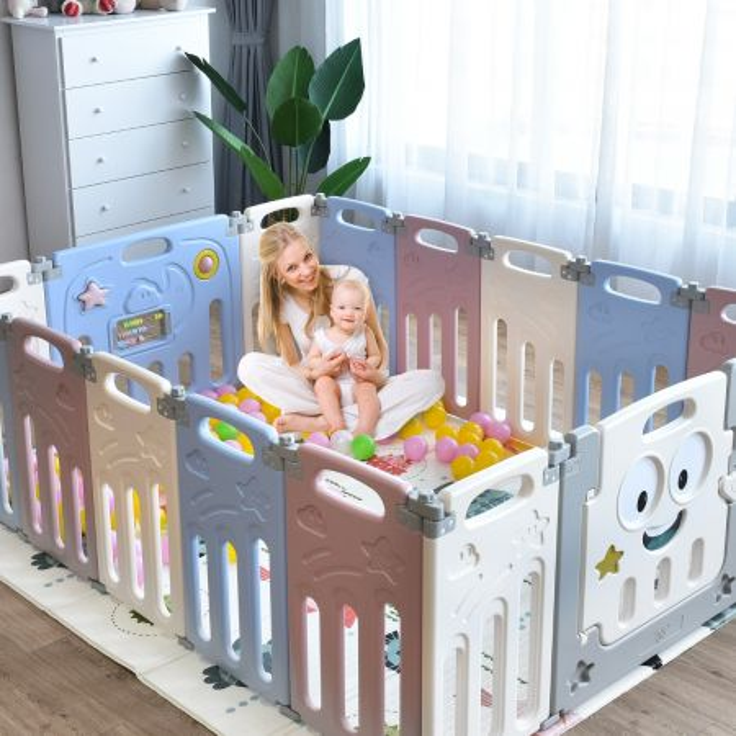 Costway Box per bambini, Centro attività pieghevole con 16 pannelli chiusura di sicurezza e giocattoli Colorato