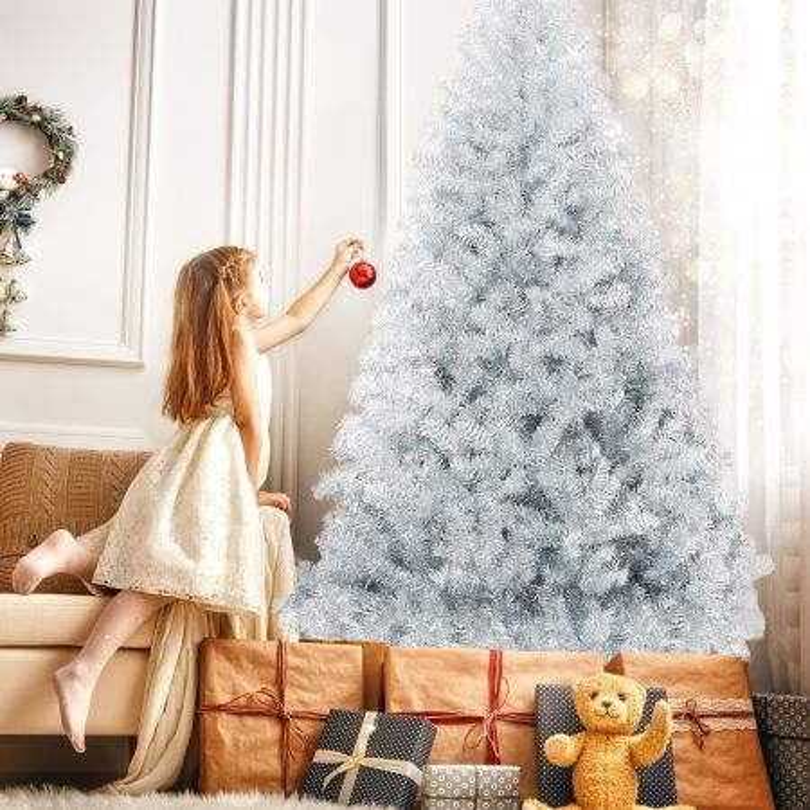 Costway Albero di Natale con decorazioni 228 cm 1258 rami, Abete artificiale perfetto da interno ed esterno, Argento