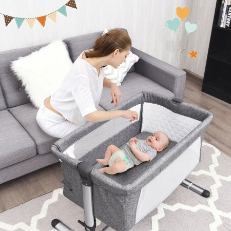 Costway Lettino pieghevole per bambini altezza regolabile, Box neonato con materasso 97x70x85cm, Grigio scuro