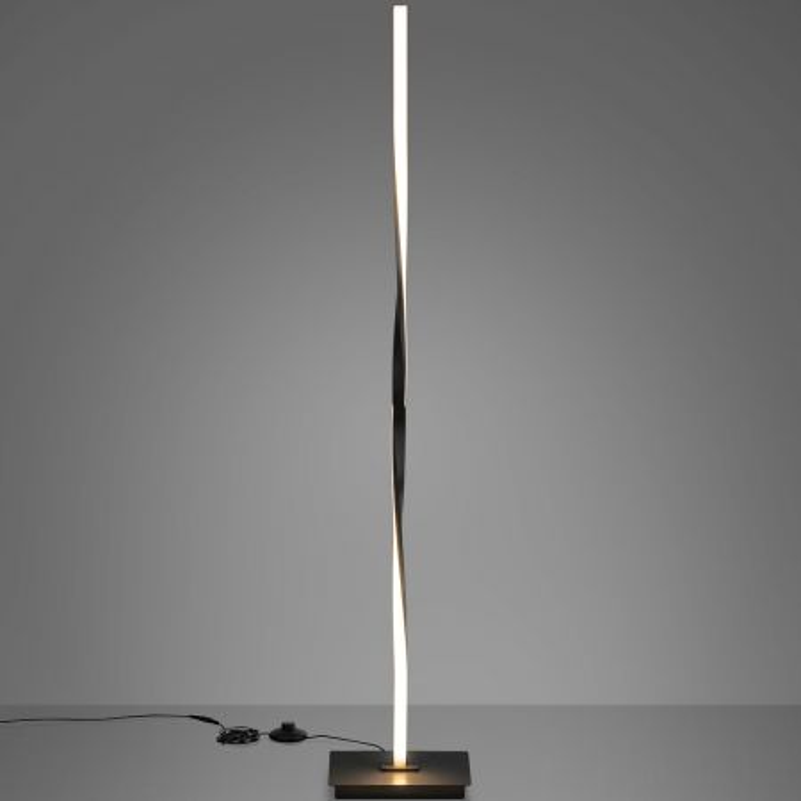 Costway Lampada da terra a spirale per salone, Lampada 122 cm contemporanea con interruttore a pedale, Nero