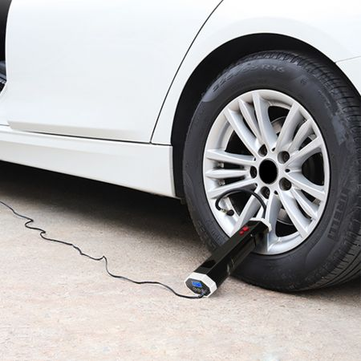 Costway Compressore ad aria per pneumatici con batteria ricaricabile, Pompa per pneumatici per macchina moto pallone, Nero