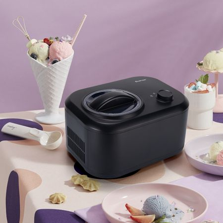Costway Gelatiera elettrica portatile con cucchiaio e 3 modalità, Macchina del gelato automatica con compressore integrato Nero