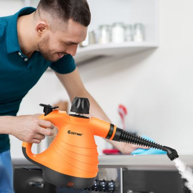 Costway Pulitore a vapore multiuso portatile con 9 accessori, Macchina a vapore per cucina bagno finestre Arancione