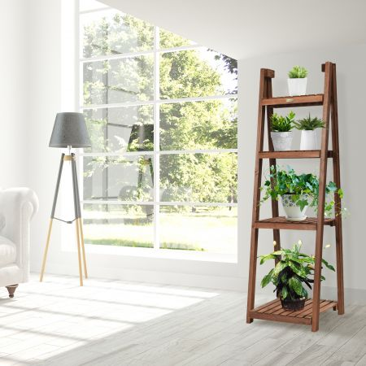 scaffale pieghevole di legno con 4 livelli per fiori