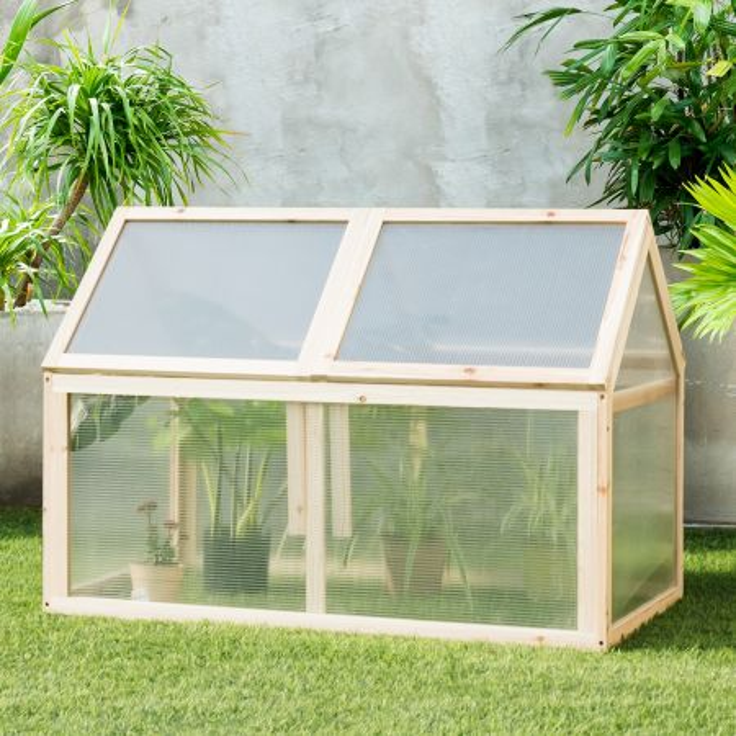 Costway Mini serra di legno ideale per giardino balcone e veranda, Protettore rialzato per vasi da esterno, 100 x 53 x 71 cm