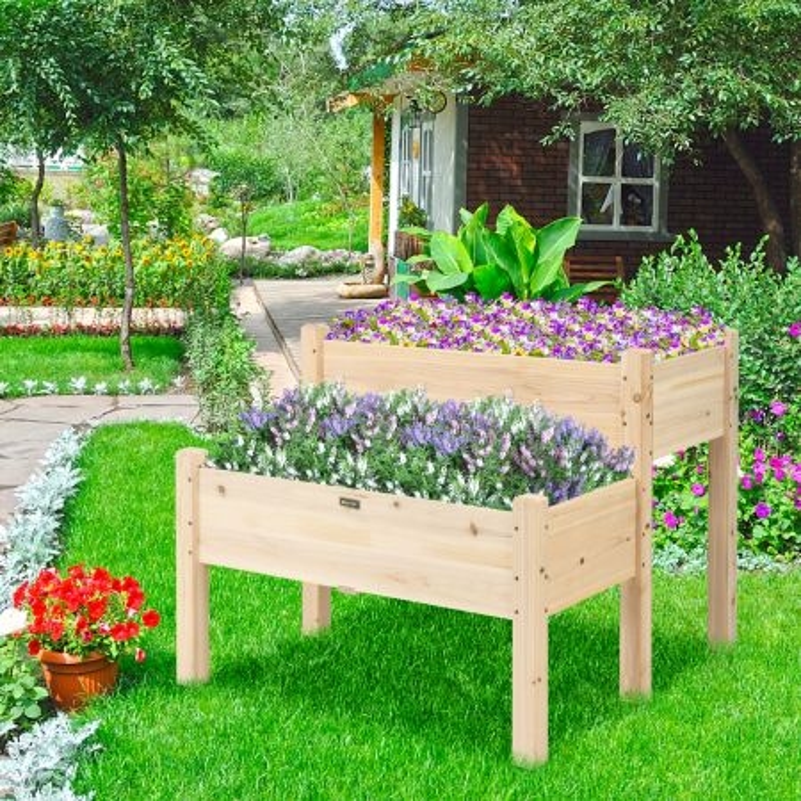 fioriera rialzata di legno a 2 livelli