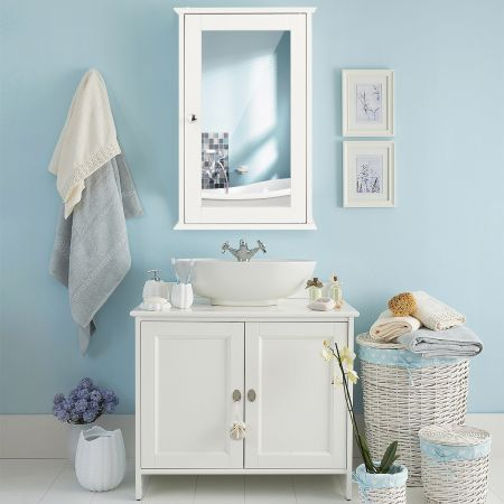 Costway Armadietto a specchio da bagno a 2 ripiani 34x15x53cm Mobile pensile portaoggetti Bianco