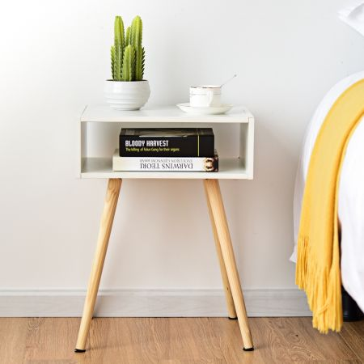Costway Comodino con cassetto da letto camera Tavolino con cassetto in MDF Bianco 40x30x54cm