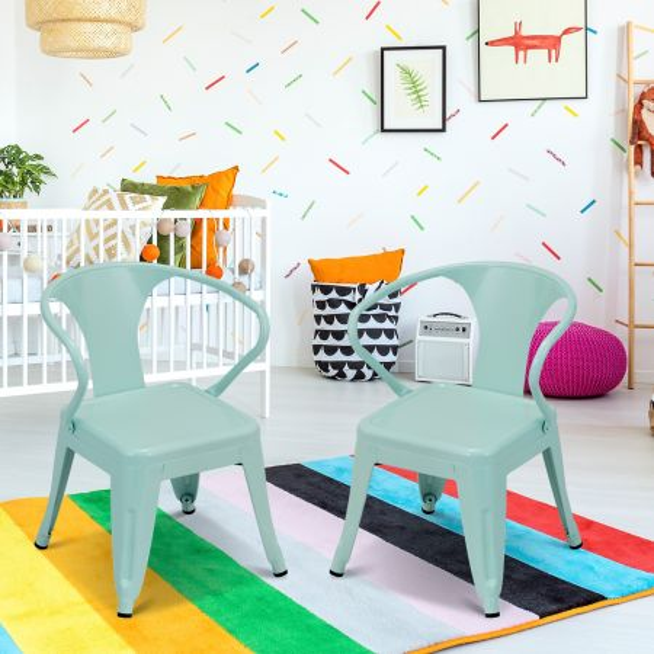 Costway Set di 2 sedie impilabili con schienale per bambini, Sedie per scuola materna camera da letto stanza dei giochi casa