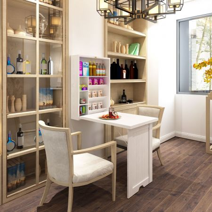 Costway Tavolo pieghevole in legno fissaggio a parete da casa e ufficio 151x94,5x56,5cm Bianco