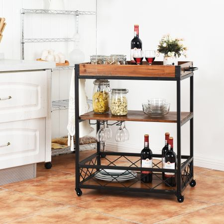 Costway Carrello di servizio a 3 ripiani in stile industriale da cucina e ristorante 66x46x82,5cm Marrone