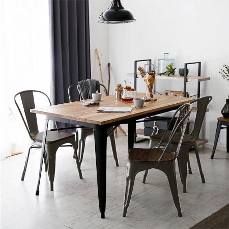 Costway Set di 4 sedie di metallo impilabili con schienale da cucina e da sala da pranzo, Sedie vintage da bar Bronzo