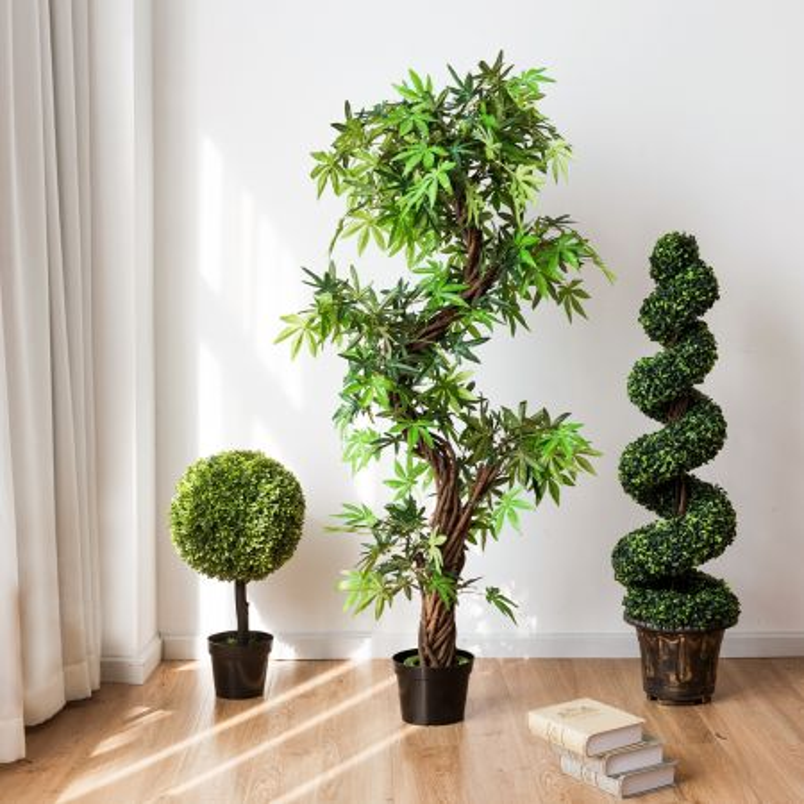 Costway Albero artificiale in legno e foglie in plastica da casa o ufficio 160x19x19cm
