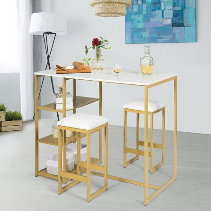 Costway Set tavolo e sedie da bar stile semplice con falso marmo rettangolare e 3 mensole di metallo Oro