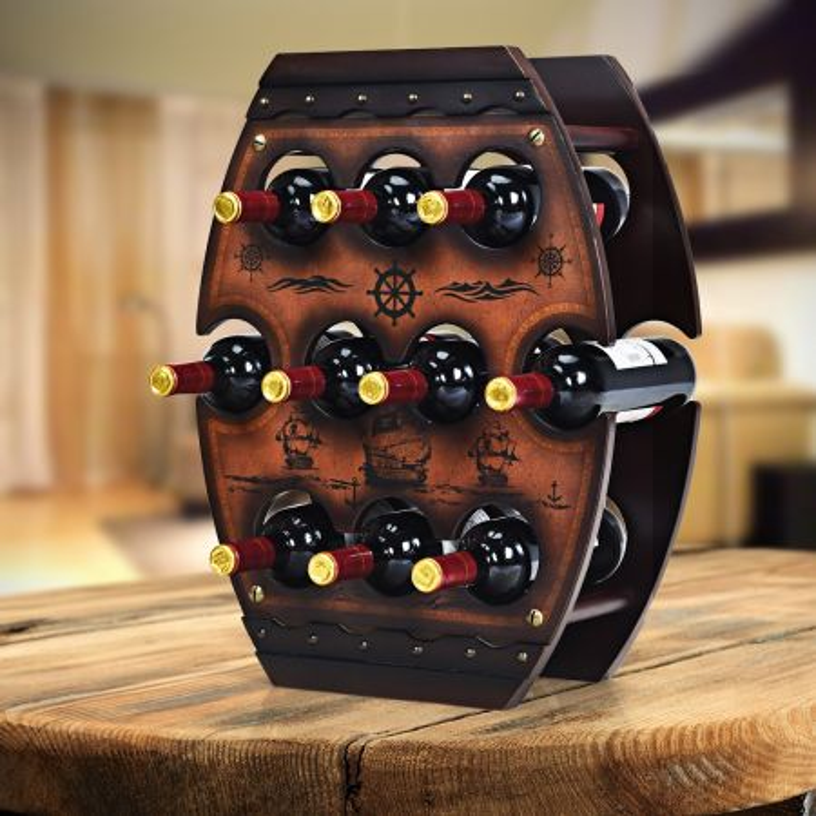 Costway Portabottiglie da tavolo in legno a 3 piani per 10 bottiglie di vino 59x45x20cm Marrone