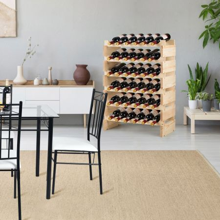Costway Porta bottiglie con capacità 36 bottiglie di vino, Scaffale bottiglie di vino di legno con 6 livelli