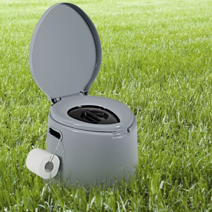 Costway Toilette da viaggio portatile per esterni leggera con secchio interno rimovibile, supporto per carta igienica rimovibile, Grigio