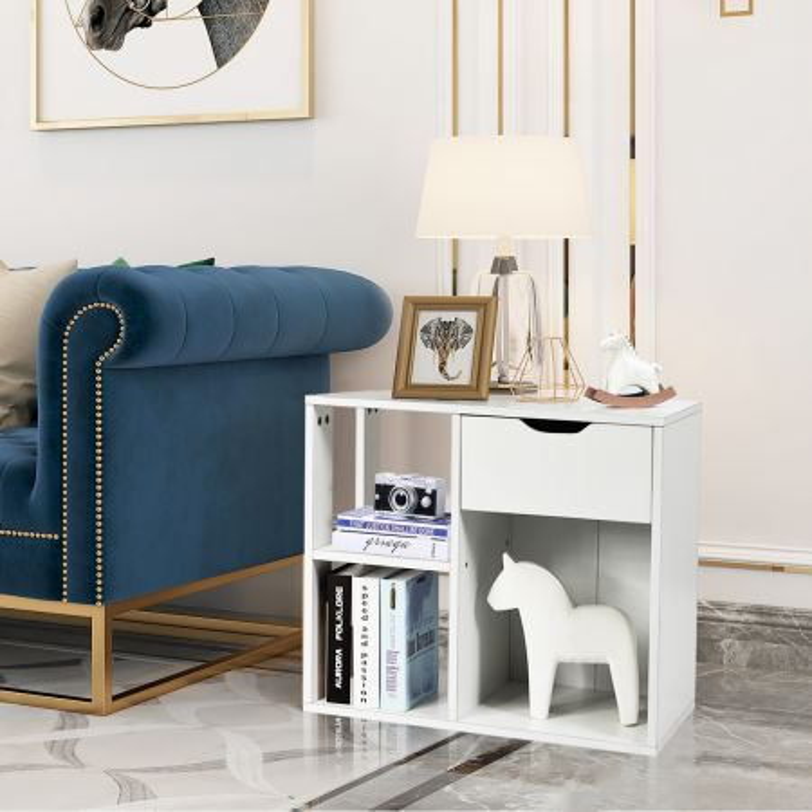 Costway Tavolino di servizio con cassetto per piccoli spazi, Comodino industriale per salone e camera da letto, Bianco